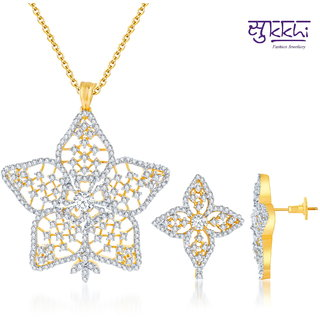 Sukkhi Sublime Gold And Rodium Plated Cz Pendant Set