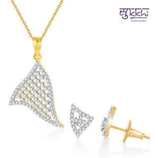 Sukkhi Modern Gold And Rodium Plated Cz Pendant Set