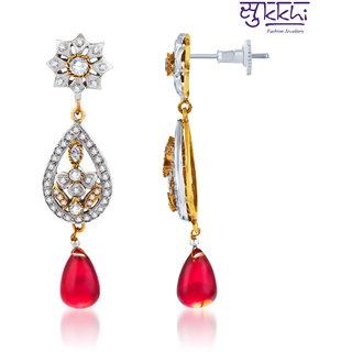 Sukkhi Glimmery Oxidize Plated Cz Studded Chandelier Earrings