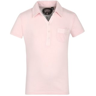 GRAIN Girls Solid Cotton Pink T-Shirts