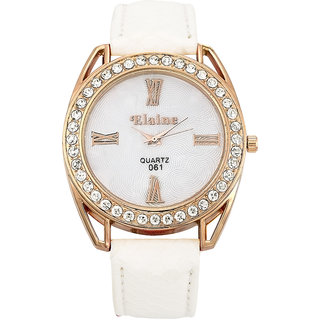 BIG Tree Laser cut Dial Design Diamond Studded Analogue White Dial Womens Watch - W1172WW