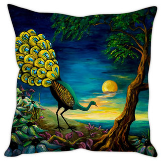 Fairshopping Cushion Cover Peacock Wall Painting  (PMCCWF0166)