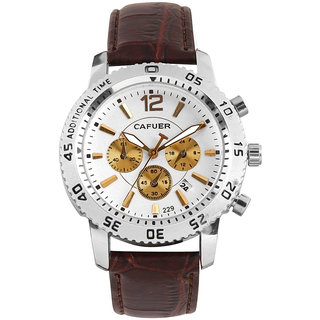 Cafuer Chronograph Look with Date Calendar Analogue White Dial Mens Watch - W1095TW