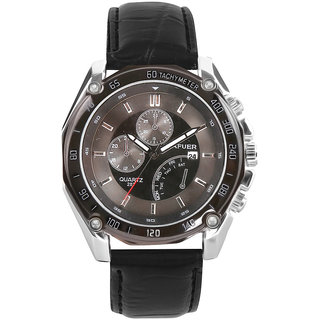 Cafuer Chronograph Look with Date Calendar Analogue Black Dial Mens Watch - W1098BB