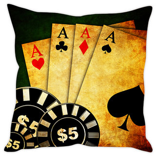 Fairshopping Cushion Cover Saloon Cards Poker Night Invitation Iarge  (PMCCWF0124)