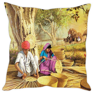 Fairshopping Cushion Cover Tockre Ki Banavat For Indian Are (PMCCWF0288)