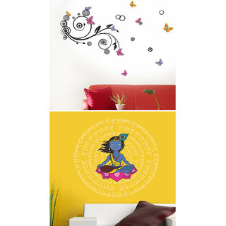Set of 2 - WallTola Wall Stickers  Spiral Design and Krishna Motif   Wall Stickers