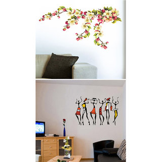 Set of 2 - WallTola Wall Stickers  Blossoms and African Ladies Wall Stickers