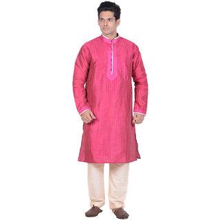 Kisah Pink Woven Full Sleeve Cotton Kurta Churidar Set for Men