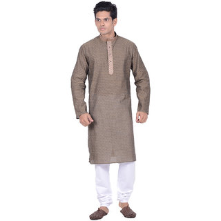 Kisah Mehendi Green woven texured Full Sleeve Cotton Kurta Churidar Set for Men