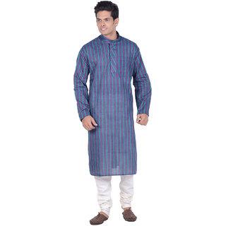 Kisah Purple  Green Striped Full Sleeve Cotton Kurta Churidar Set for Men
