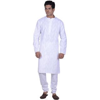 Kisah White Woven Textured Full Sleeve Cotton Kurta Churidar Set for Men