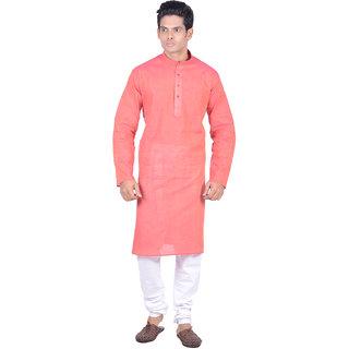 Kisah Red Woven Textured Full Sleeve Cotton Kurta Churidar Set for Men