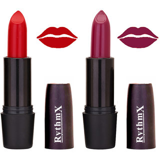 Rythmx Barach N Roll Red ,Mocha Mihelle Mauve Shades Lipstick Combo 572