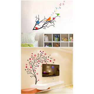 Set of 2 - WallTola Wall Stickers  Colorful Birds and Magical Tree   Wall Stickers