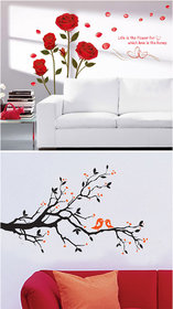 Set of 2 - WallTola Wall Stickers  Romantic Roses and Black Love Branch   Wall Stickers