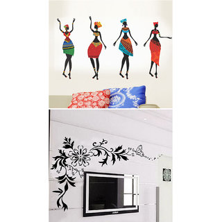 BOGO WallTola Wall Stickers  Colorful African Women and Black LCD Floral   Wall Stickers