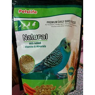 Petslife - NATURAL Permium Finches  Love Birds Food 400g - Vitamins  Minerals