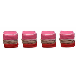 Fashion Bizz Regular Multi-Saree Cover 12-IN-1 COMBO (RED,PURPLE,BROWN,PINK)
