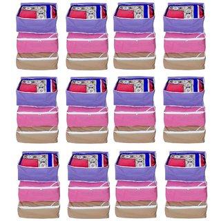 Fashion Bizz Regular Saree Cover 36- Pcs Combo (Red,Pink,Purple, Brown)