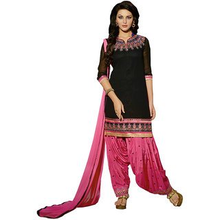 The Ethnic Chic Embroidered Black Georgette Un-Stitched Patiyala Suit