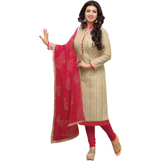 The Ethnic Chic Embroidered Light Beige Chanderi Un-Stitched Straight Suit