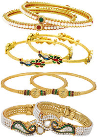 Jewels Galaxy Gold Plated Multi Bangles For Women-JG-CB-KBN-926