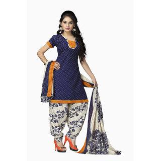 Vaamsi Blue Printed Polycotton Salwar Suit Material