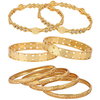 Jewels Galaxy Gold Plated Multi Bangles For Women-JG-CB-KBN-903