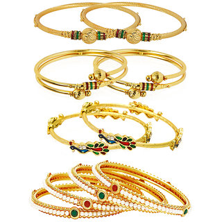 Jewels Galaxy Gold Plated Multi Bangles For Women-JG-CB-KBN-920