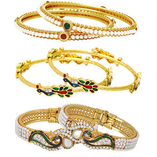 Jewels Galaxy Non Plated Multi Bangles For Women-JG-CB-KBN-932