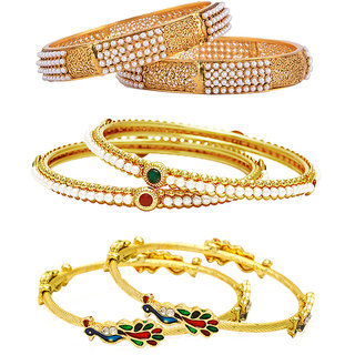 Jewels Galaxy Non Plated Multi Bangles For Women-JG-CB-KBN-938