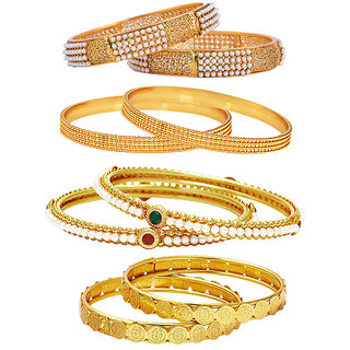 Jewels Galaxy Gold Plated Multi Bangles For Women-JG-CB-KBN-940