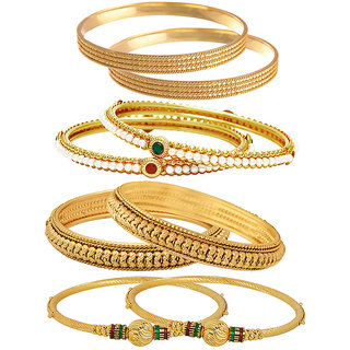 Jewels Galaxy Gold Plated Multi Bangles For Women-JG-CB-KBN-942