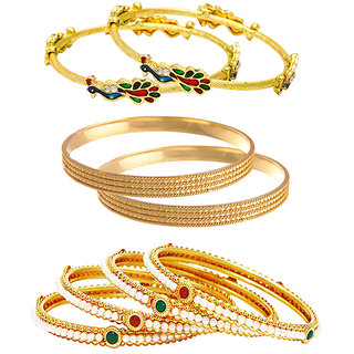 Jewels Galaxy Gold Plated Multi Bangles For Women-JG-CB-KBN-945