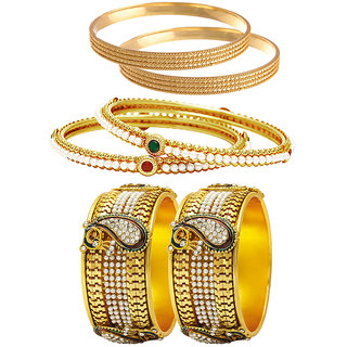 Jewels Galaxy Gold Plated Multi Bangles For Women-JG-CB-KBN-954