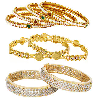 Jewels Galaxy Non Plated Multi Bangles For Women-JG-CB-KBN-957