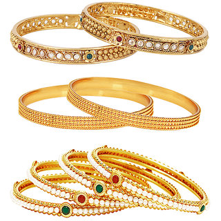 Jewels Galaxy Gold Plated Multi Bangles For Women-JG-CB-KBN-964