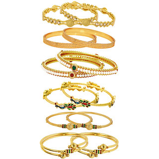 Jewels Galaxy Gold Plated Multi Bangles For Women-JG-CB-KBN-971