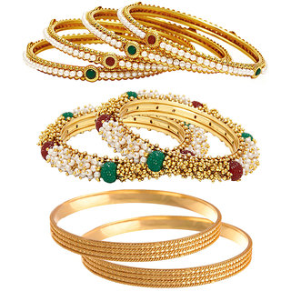 Jewels Galaxy Gold Plated Multi Bangles For Women-JG-CB-KBN-973