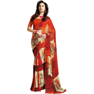 Vaamsi Red Georgette Printed Saree With Blouse