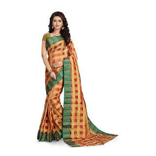 Vaamsi Green Jacquard Printed Saree With Blouse