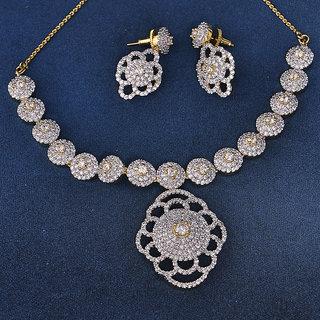 Swarajshop Cute Silver & Golden Color Diamond Necklace