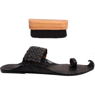 Sushito Ethnic Pure Leather  Black Kolhapuri Chappal For Men With Shoe Brush JSMKCM0272