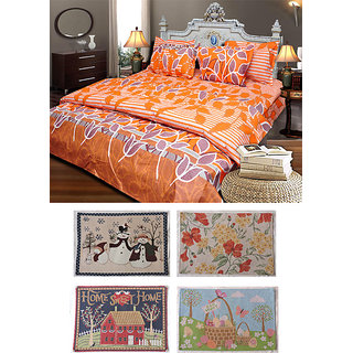 JBG Home Store Combo of Cotton Double Bedsheet with 2 Pillow Covers and 4 Mats
