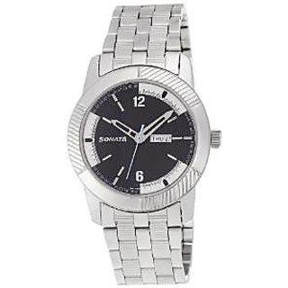 Sonata Analog Black Round Watch -7100SM02