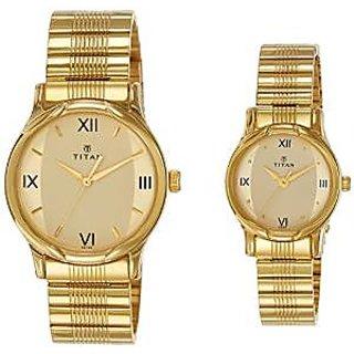 Titan Quartz Gold Dial Unisex Watch-15802490YM02