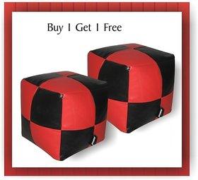 JUPITER Bean Bag Cube- set of 2 pcs - REDBlack - Soft Leather Feel - Cover Only