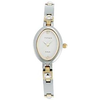 Titan Quartz White Oval Women Watch NE9717BM01A