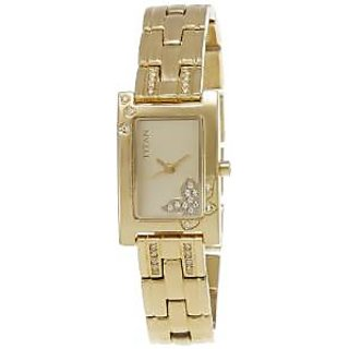 Titan Quartz Beige Rectangle Women Watch NE9716YM01J